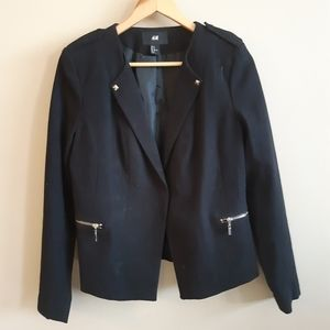 H&M black structured military style fancy jacket